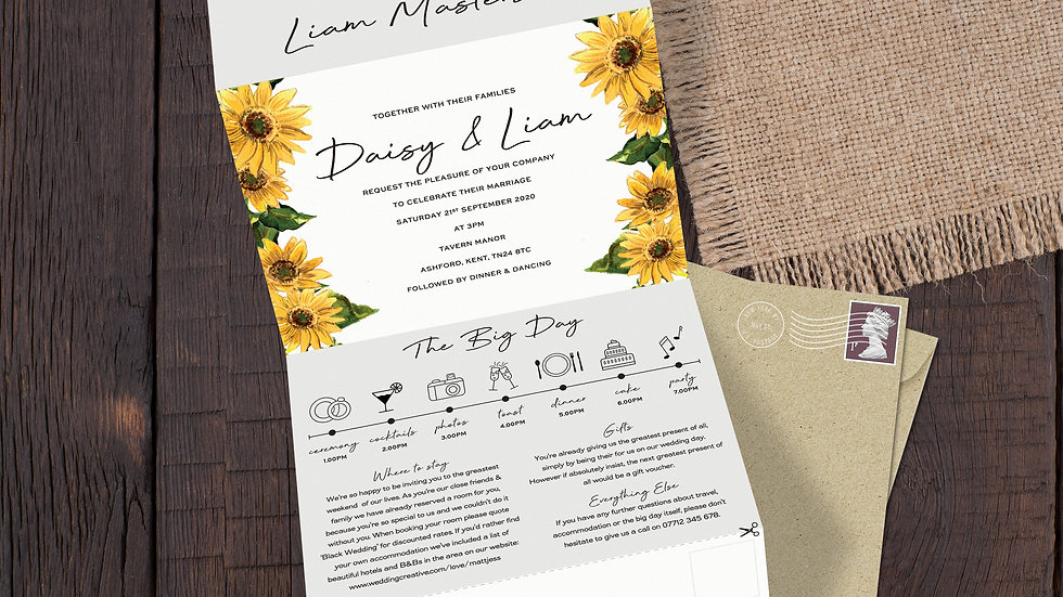 Sunflower Tri Fold Wedding Invitations With Envelopes