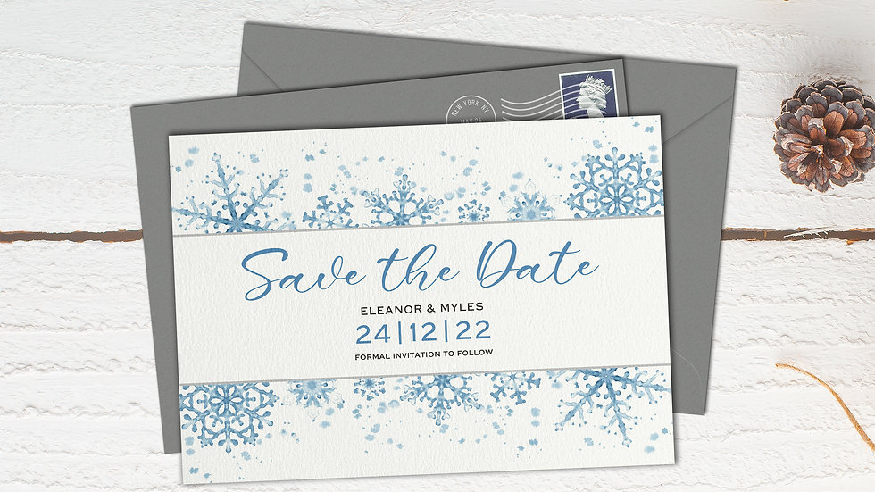 Winter Save The Date Cards With Envelopes