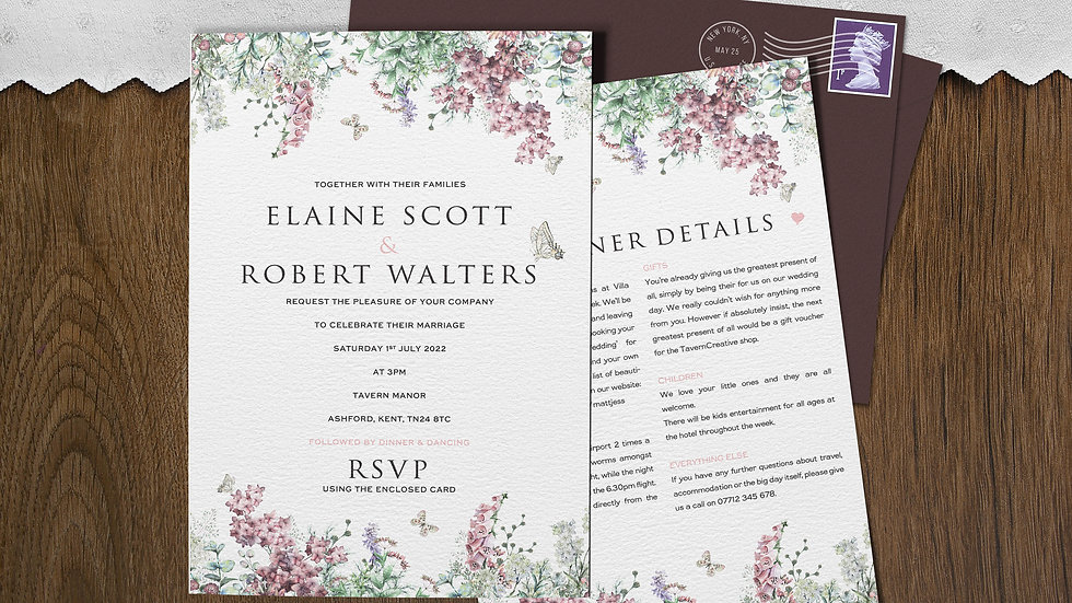 "Wildflowers 7x5""Wedding Invitations With Envelopes"