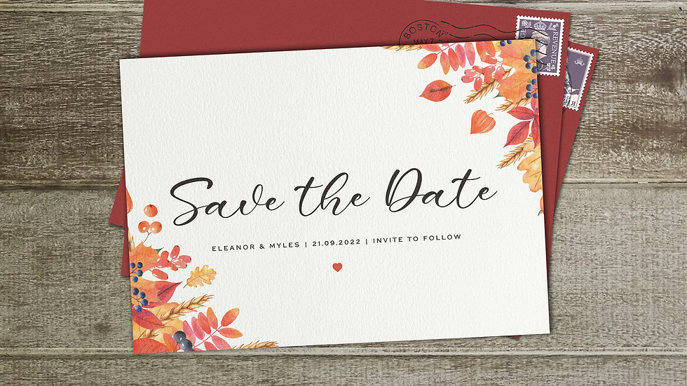 Autumn Save The Date Cards With Envelopes