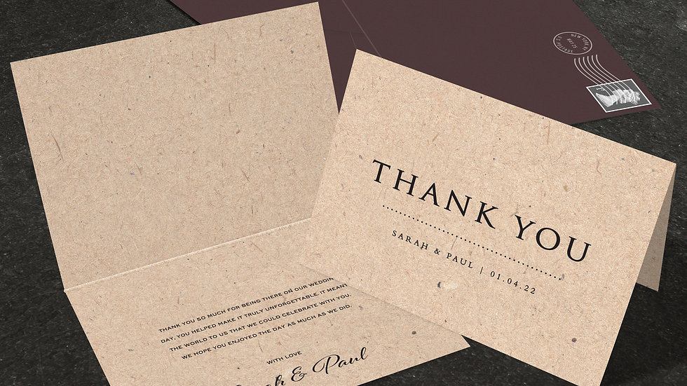 Kraft Lights Folded Thank You Cards With Envelopes