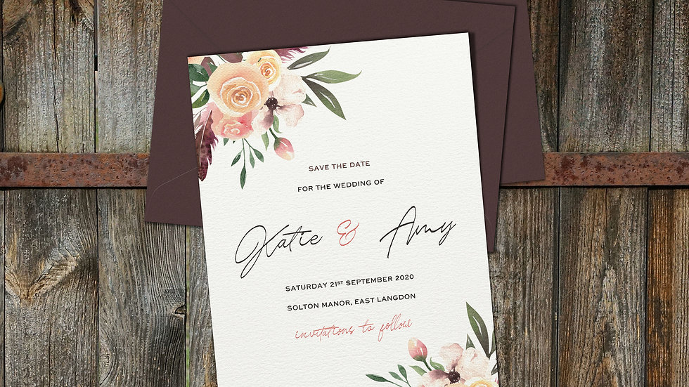 Rustic Floral Save The Date Cards With Envelopes
