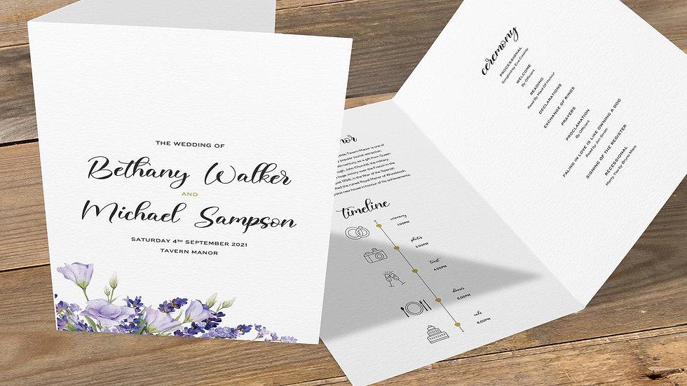Lavender Folded Wedding Programs