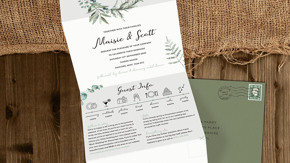 Olive Tri Fold Wedding Invitations With Envelopes