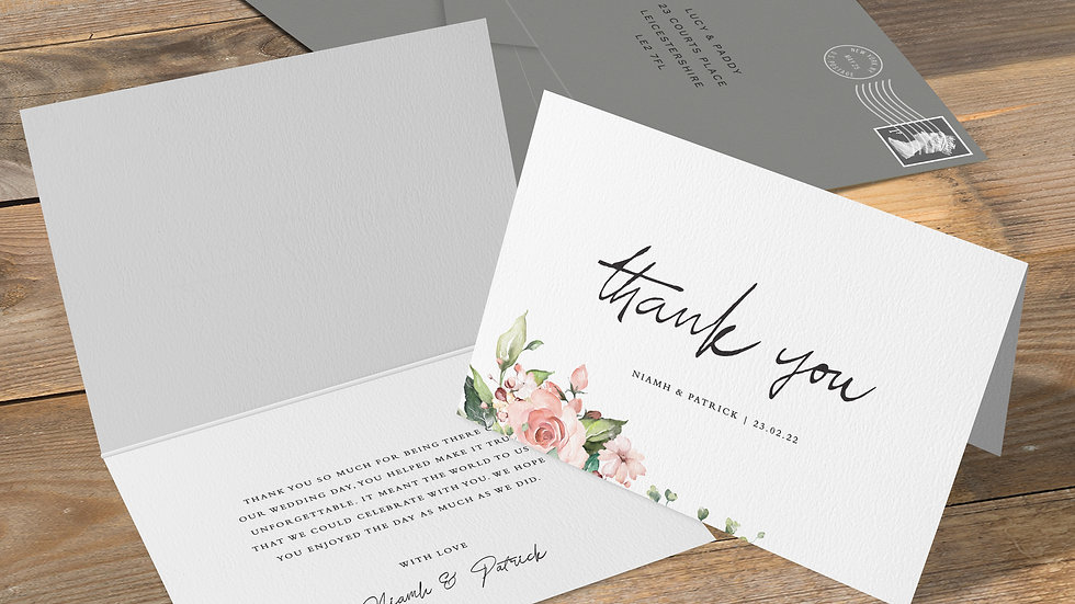Blush Floral Folded Thank You Cards With Envelopes