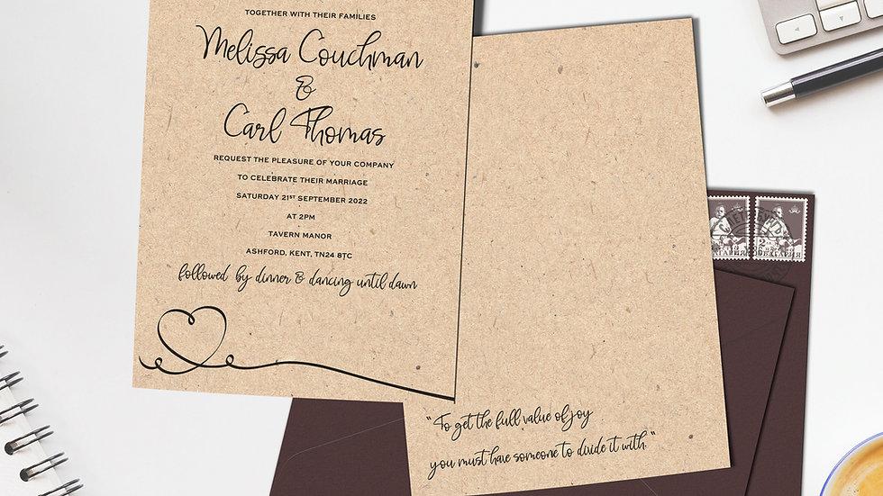 "Kraft 7x5""Wedding Invitations With Envelopes"
