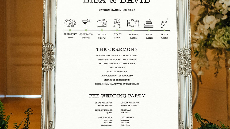 Burst Wedding Program Sign