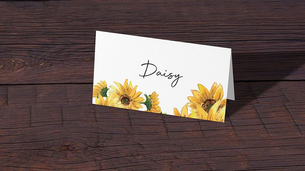 Sunflowers Place Cards With Names Printed