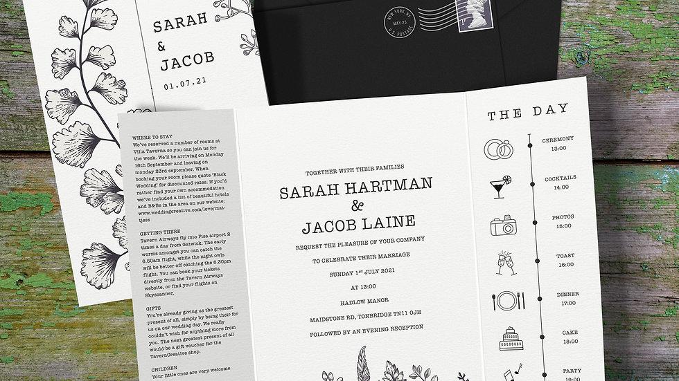 Outline Gatefold Wedding Invitations With Envelopes