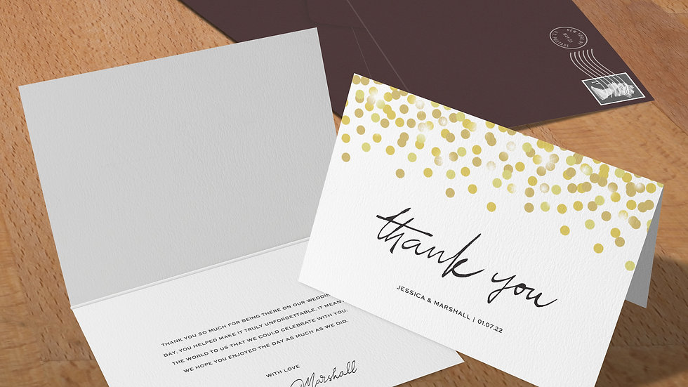 Confetti Folded Thank You Cards With Envelopes