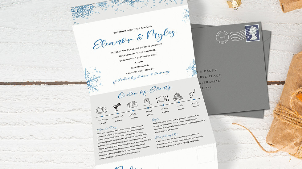 Winter Tri Fold Wedding Invitations With Envelopes