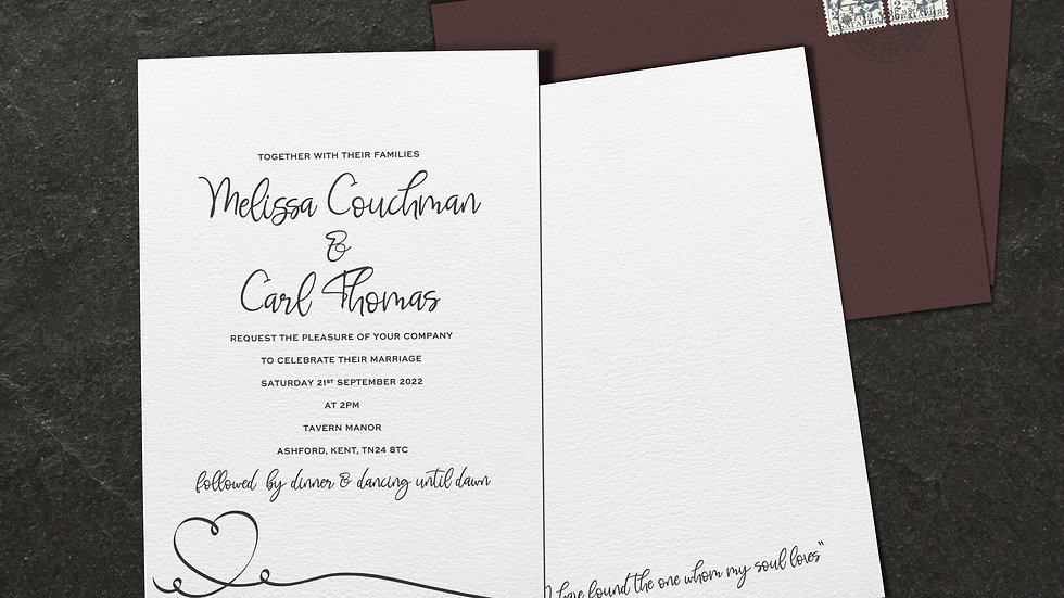 "Calligraphy 7x5""Wedding Invitations With Envelopes"