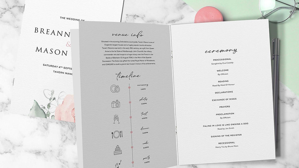 Whimsical Wedding Order Of Service Booklet