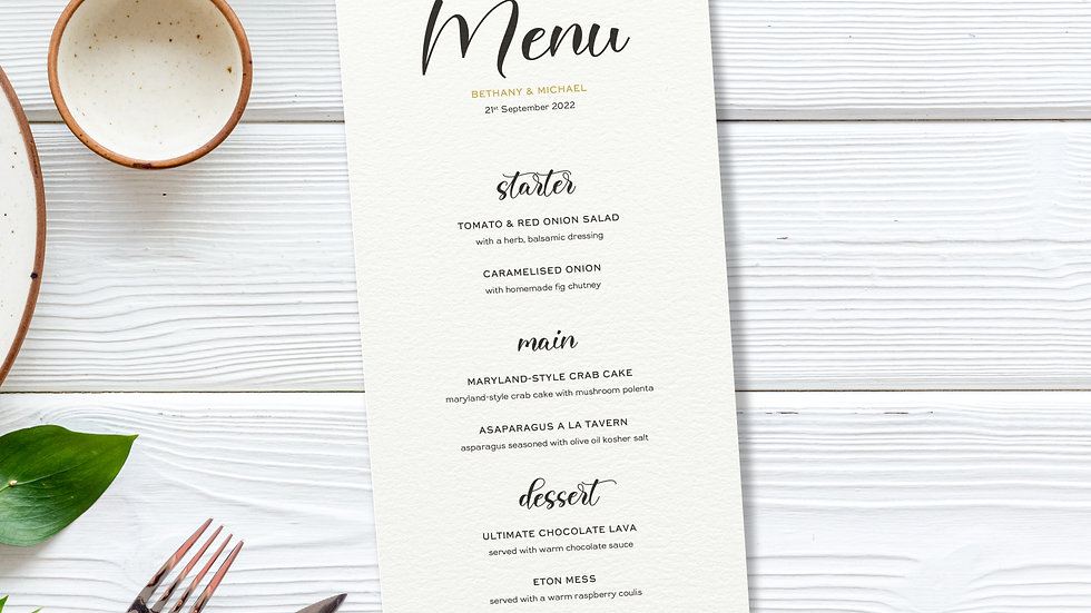 Lavender Wedding Menus