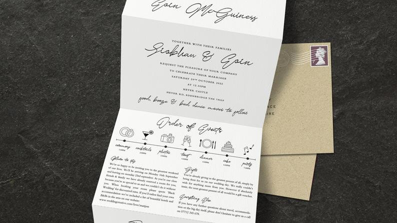 Beach Tri Fold Wedding Invitations With Envelopes