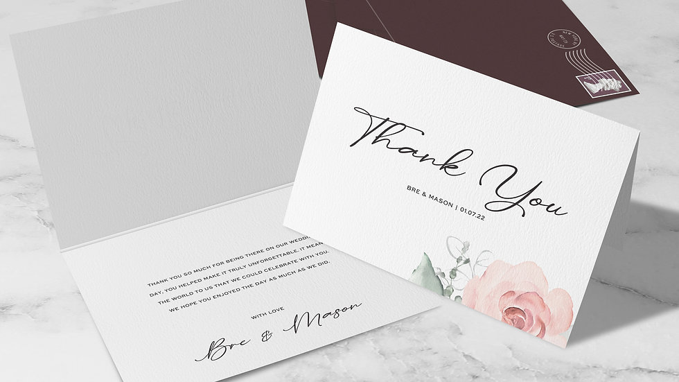 Whimsical Folded Thank You Cards With Envelopes