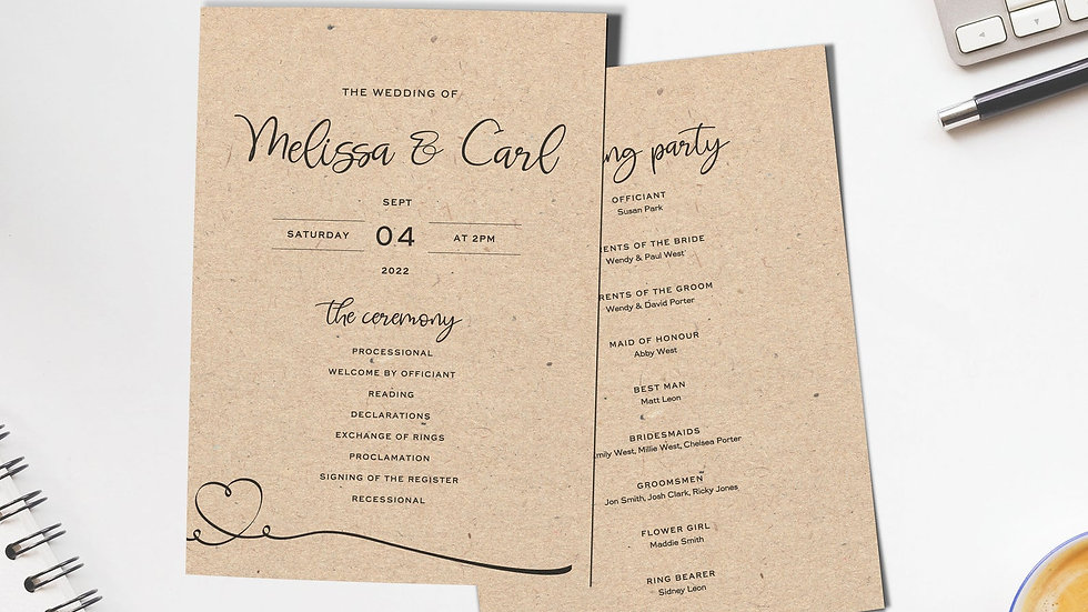 Kraft Order Of Events Card