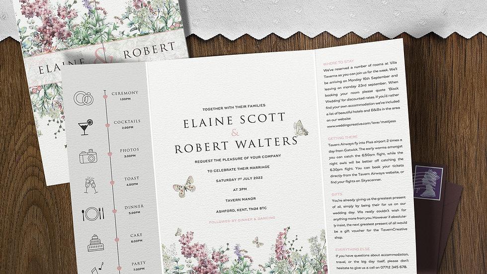 Wildflowers Gatefold Wedding Invitations With Envelopes