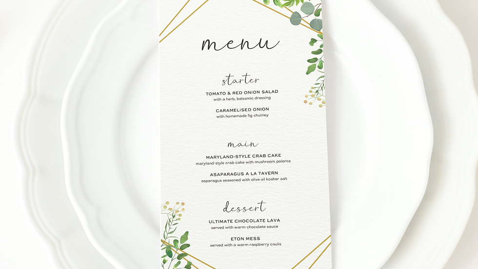 Greenery Eucalyptus Wedding Menus
