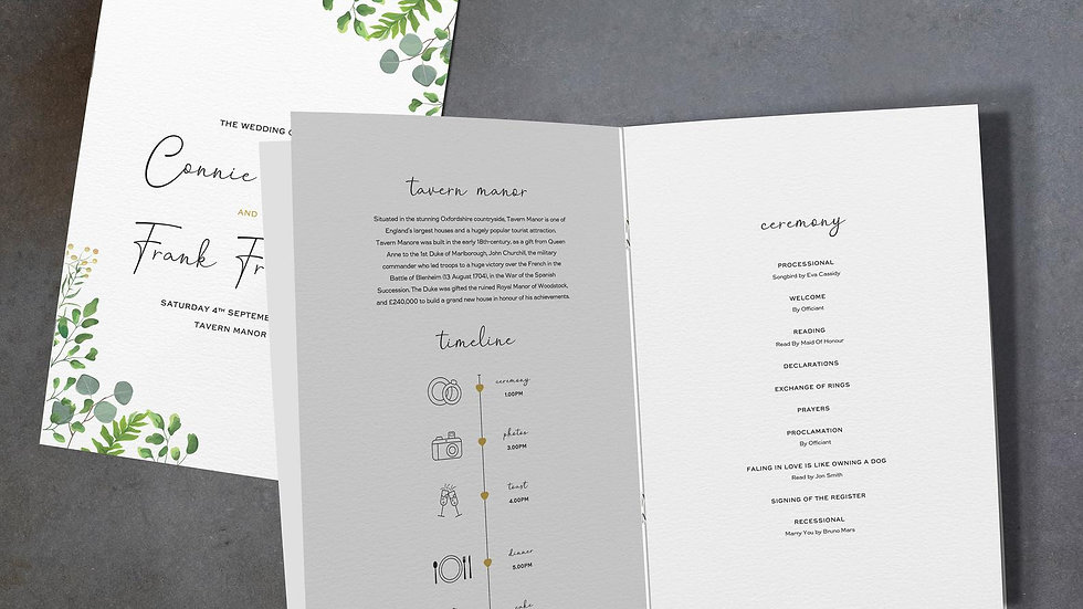 Greenery Eucalyptus Wedding Order Of Service Booklet