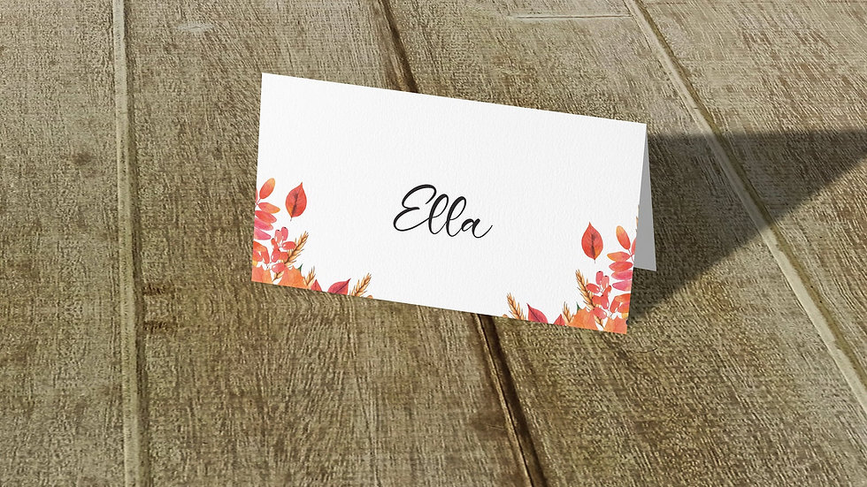 Autumn Place Cards With Names Printed