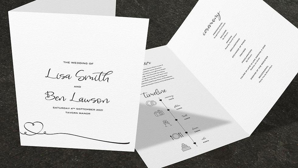 Calligraphy Folded Wedding Programs