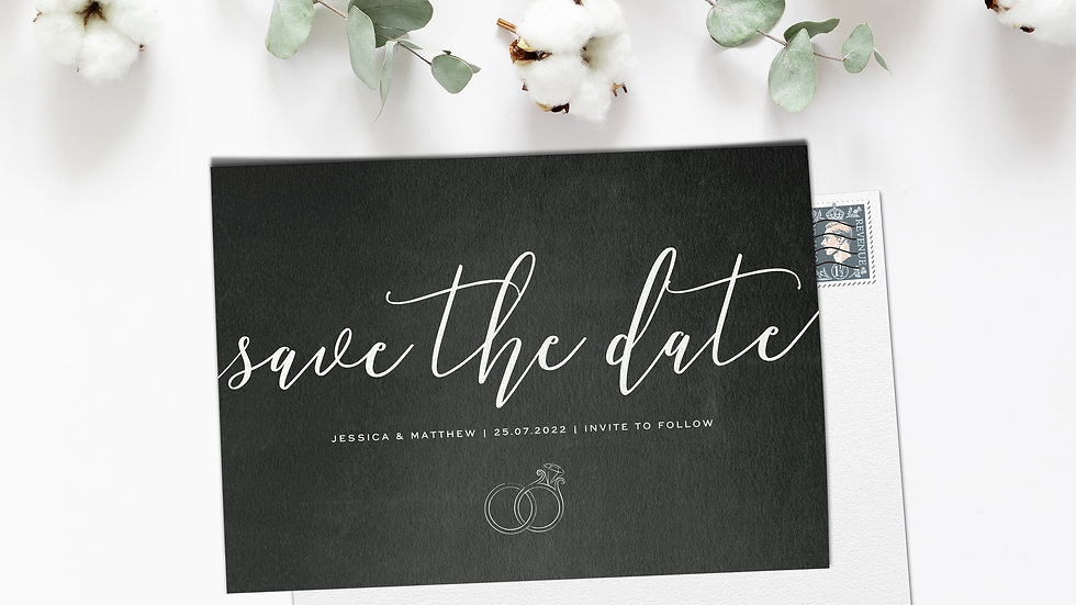 Chalkboard Save The Date Cards With Envelopes