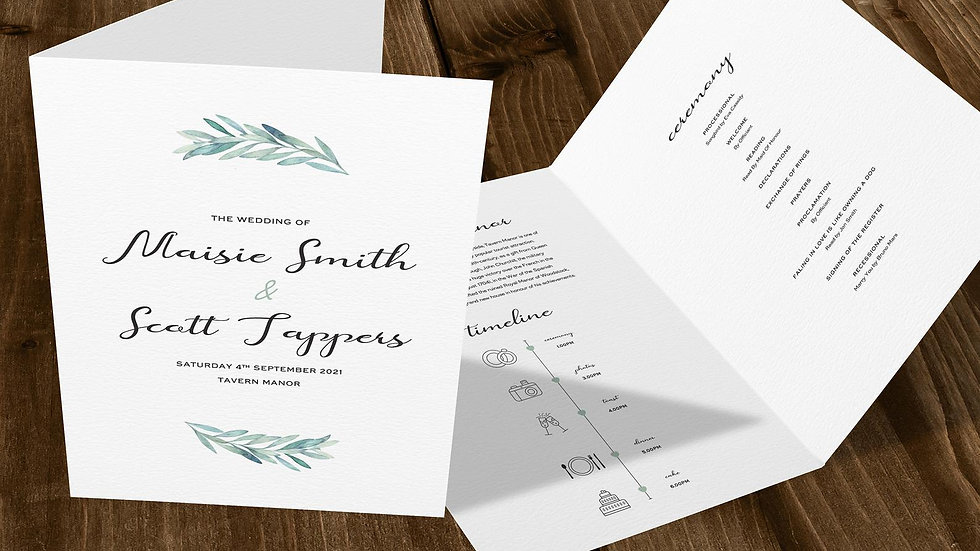 Olive Folded Wedding Programs