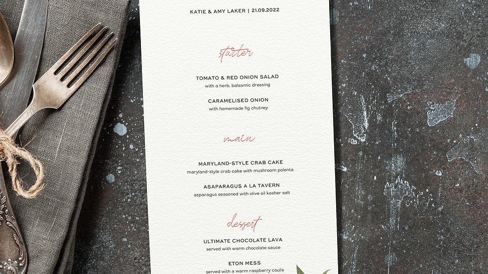 Rustic Floral Wedding Menus