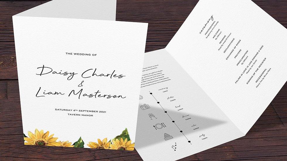 Sunflowers Folded Wedding Programs