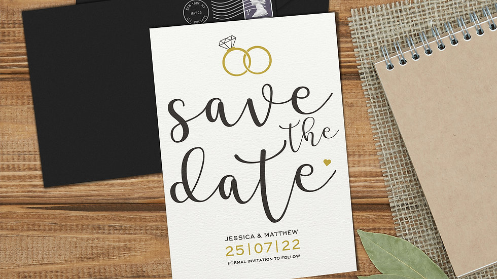 Rings Save The Date Cards With Envelopes