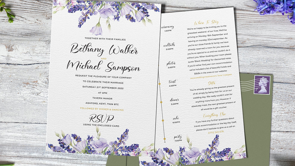 "Lavender 7x5""Wedding Invitations With Envelopes"