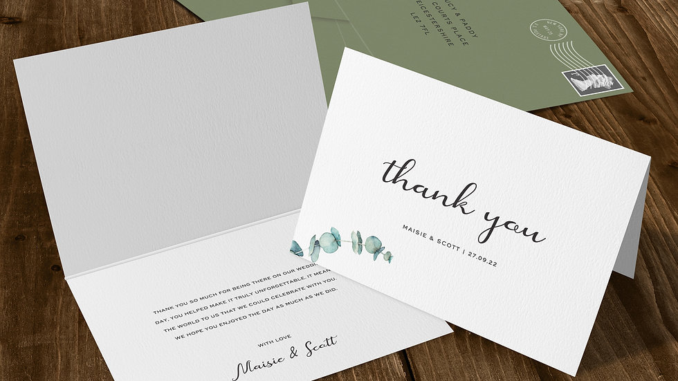 Olive Folded Thank You Cards With Envelopes