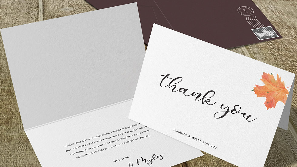 Autumn Folded Thank You Cards With Envelopes