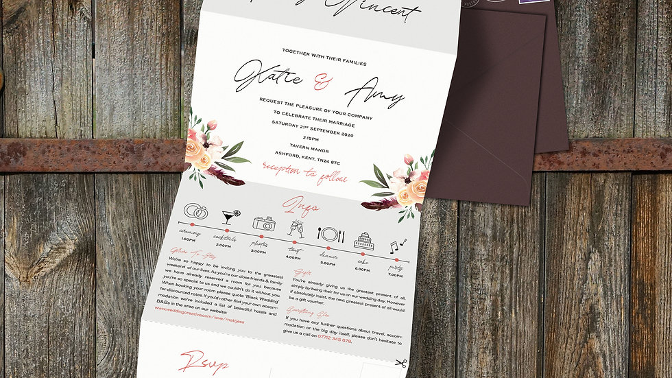 Rustic Floral Tri Fold Wedding Invitations With Envelopes