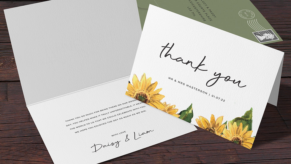 Sunflowers Folded Thank You Cards With Envelopes