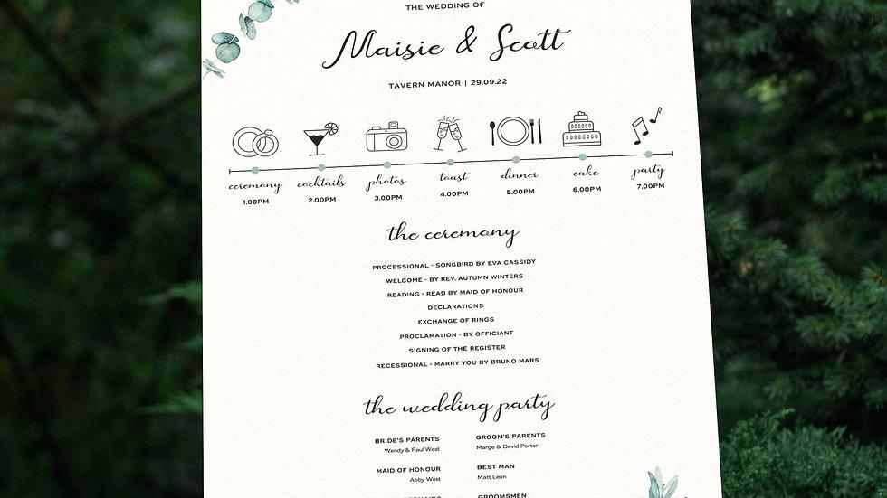 Olive Wedding Program Sign
