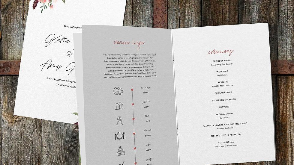Rustic Floral Wedding Order Of Service Booklet