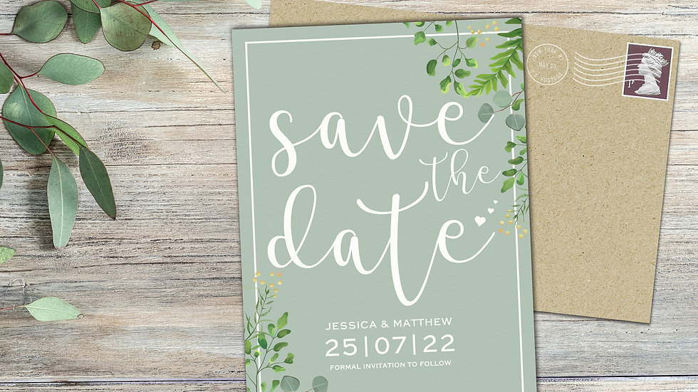 Sage Greenery Save The Date Cards With Envelopes