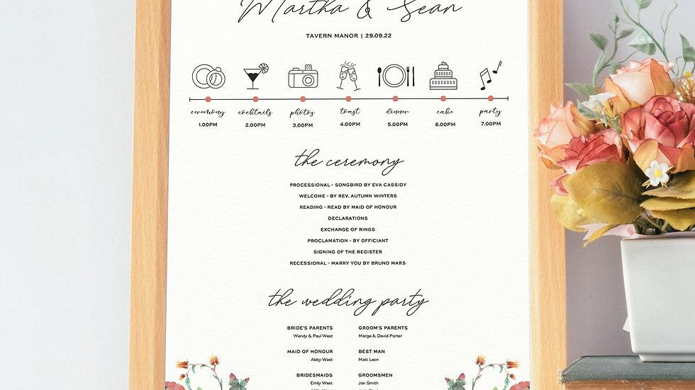 Succulents Wedding Program Sign