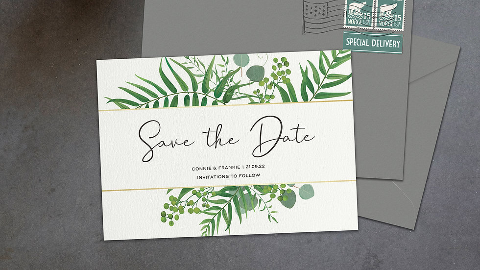 Greenery Eucalyptus Save The Date Cards With Envelopes