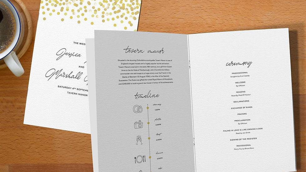 Confetti Wedding Order Of Service Booklet