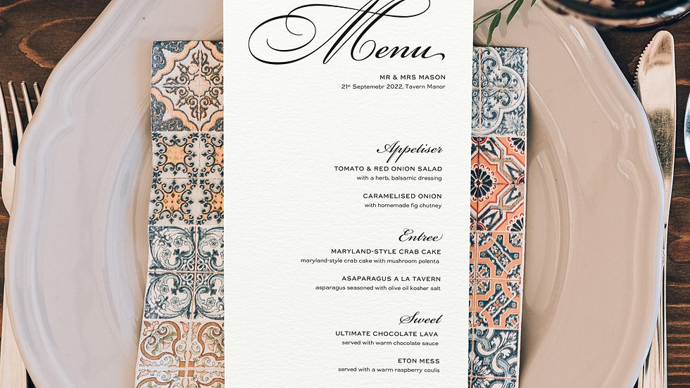 One Wedding Menus