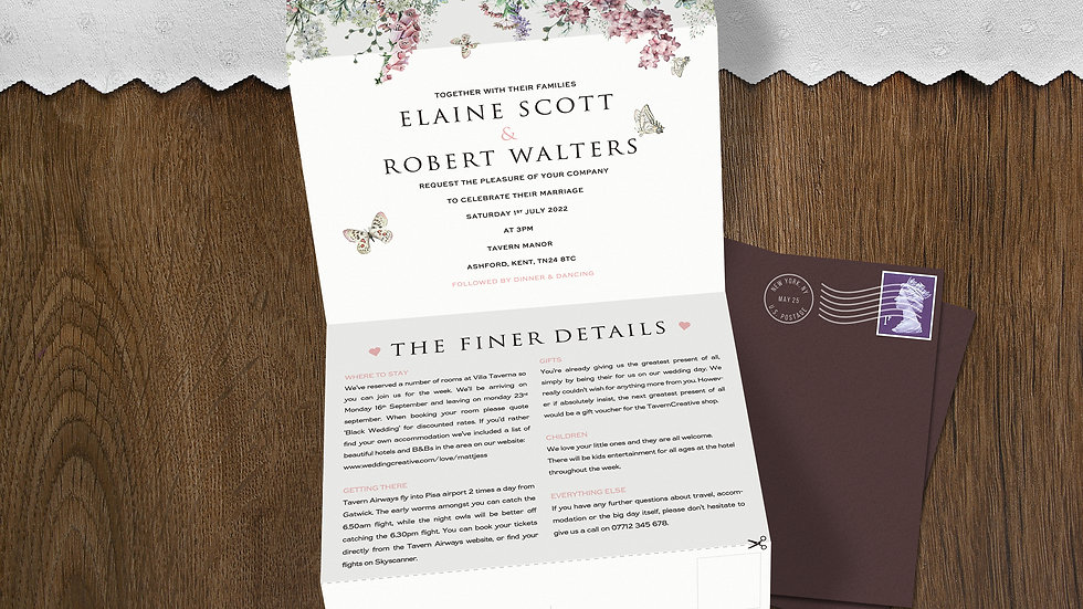 Wildflower Tri Fold Wedding Invitations With Envelopes
