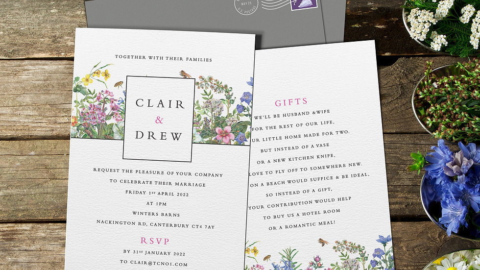 "Spring 7x5""Wedding Invitations With Envelopes"
