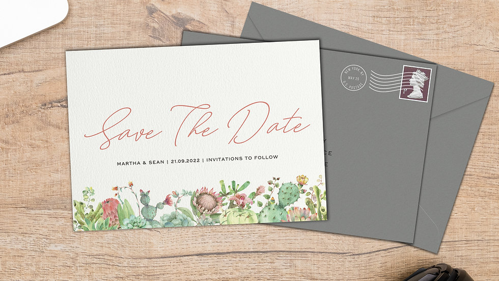 Succulents Save The Date Cards With Envelopes
