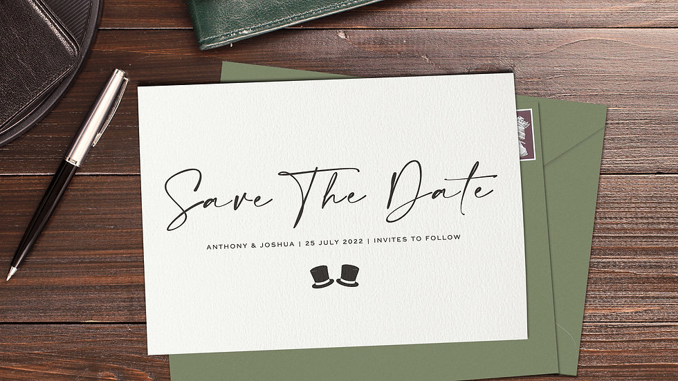 Mr & Mr Save The Date Cards With Envelopes