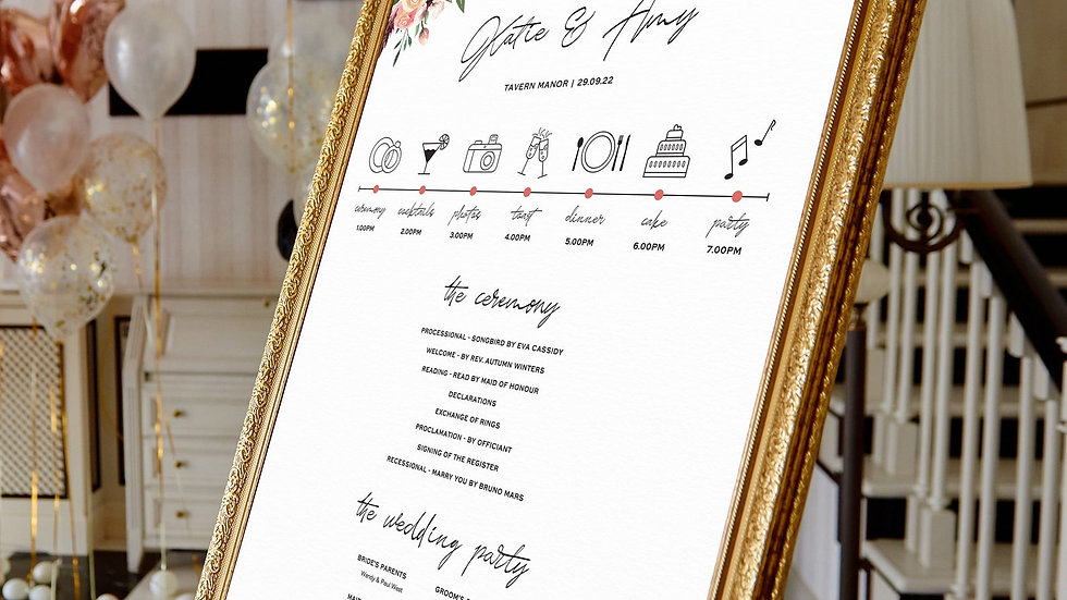 Rustic Floral Wedding Program Sign