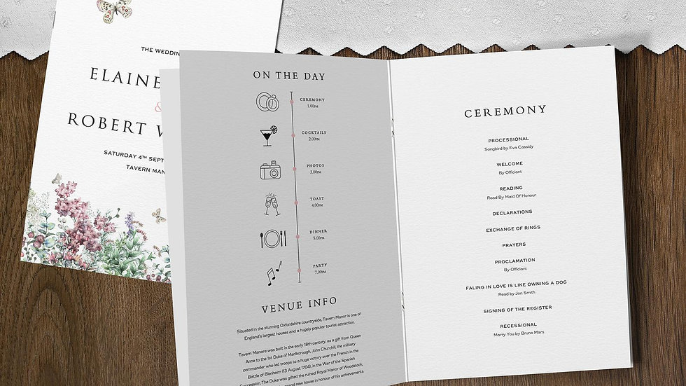 Wildflowers Wedding Order Of Service Booklet