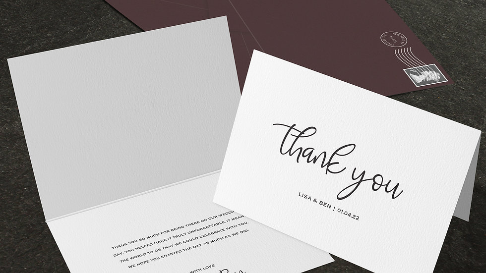 Calligraphy Folded Thank You Cards With Envelopes